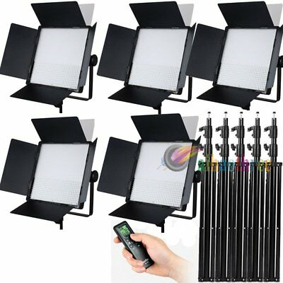 5Pcs GODOX LED1000C Changeable Version LED Studio Light + Remote + 295cm Stand