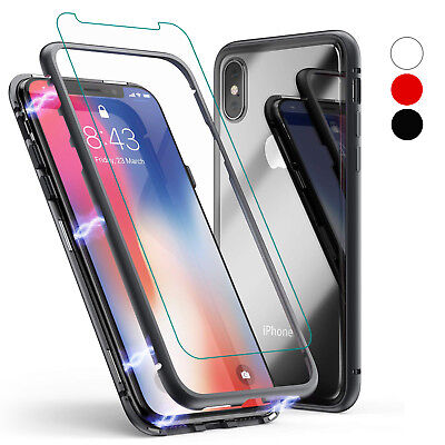 New Magnetic Absorption Metal Bumper Glass Case Cover for iPhone 8 Plus / 7 Plus