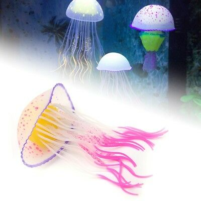 2 Colours Glowing Effect Aquarium Artificial Silicone Jellyfish Fish Tank Decor