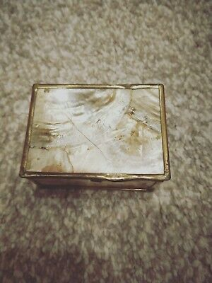 old collectable pearl shell made jewelry box