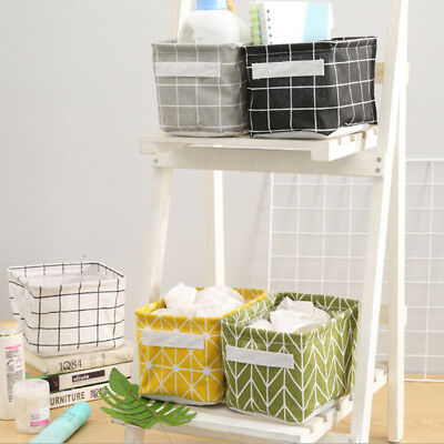 Waterproof  Dirty Clothes Storage Basket Plaid Foldable Canvas Bin Basket Box