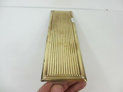 Vintage Brass Finger Plate Push Door Handle Reeded Old Art Deco Mid Century