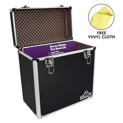 "Gorilla LP 50 12"" Vinyl Record Storage Box Case (Black) with FREE Cleaning Cloth"