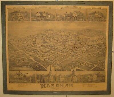 Vintage 1978 NEEDHAM MASSACHUSETTS Birds Eye View 1887 MAP Lithograph Reprint