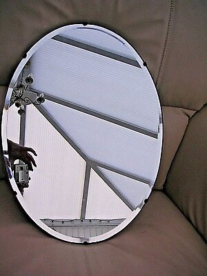 Vintage Frameless Wall Mirror Bevelled Edge Oval Original Chain