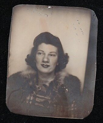 Old Vintage Antique Photo Booth Photograph Young Woman