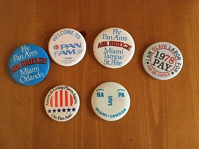 Vintage PAN AM AIRLINES Buttons Lot Of 6 Pins