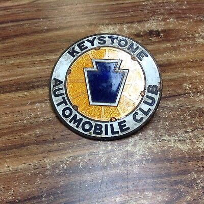 "Vintage Keystone Automobile Club Enamel 3.75"" Plaque Car Grill Emblem"