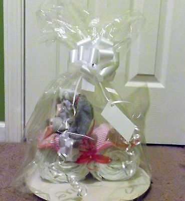 Pink and Grey Motorcycle Diaper cake baby shower gift or centerpiece