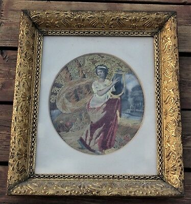 Unique Antique Framed Hand Painted Embroidery - Woman Playing Harp
