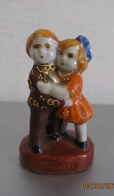 vintage Japan handpainted figurine boy and girl. Hotta Yu Shoten & Co. Pre WWII