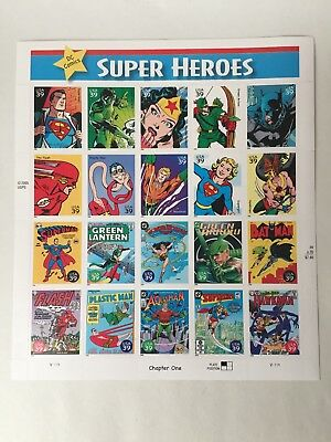 2005 USPS DC Comics Super Heroes .39 Cent Stamp Full Sheet of 20 Stamps Whole