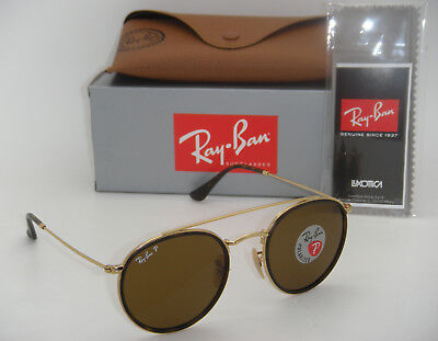 8498099bc1 NEW RAY BAN Sunglasses Gold Frame RB 3647N 001 57 Polarized Brown ...