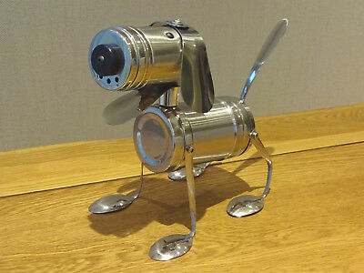 Standing Dog sculpture, stainless steel robot dog - Unique and hand made