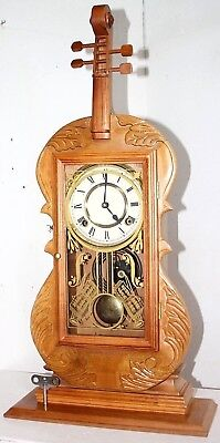 Vintage Stunning Violin Clock W/ Strings & Music Theme.  *reverse Painted Glass*