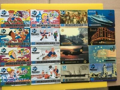 16 mercurycard  phonecards - mixed lot of new & used