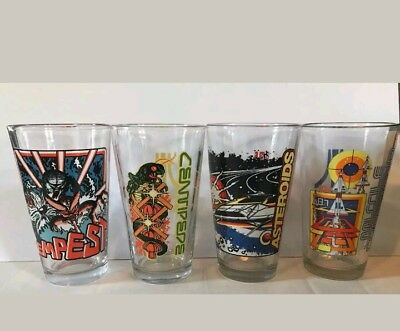 Atari Pint Glass Set Of 4 - Asteroids Centipede, Missile Command, Tempest