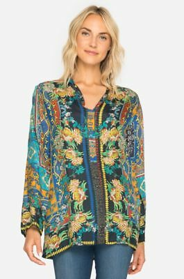 69dcbc94f9ad55 Johnny Was Sathya Printed Silk V Neck Top Blouse C12617 New Boho Chic