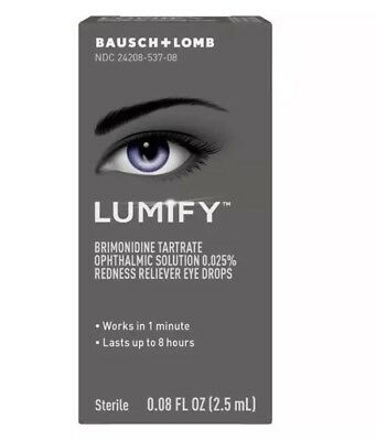 Baush +Lomb Lumify Redness Reliever Eye Drops Sterile 2.5 mL~Exp:10/2019