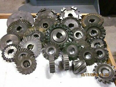 "LOT OF 26 Horizontal Milling Machine Cutters ,1-1/4"" Arbor Hole Machinist"