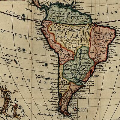 South America decorative 1766 Vaugondy lovely hand colored old map cartouche