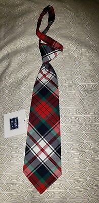 Janie & Jack Boy's  Neck Tie Red Navy Blue green plaid Holiday  Size Up to 3 NWT