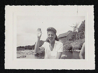Old Vintage Antique Photograph Young Woman Sitting By Water Waving