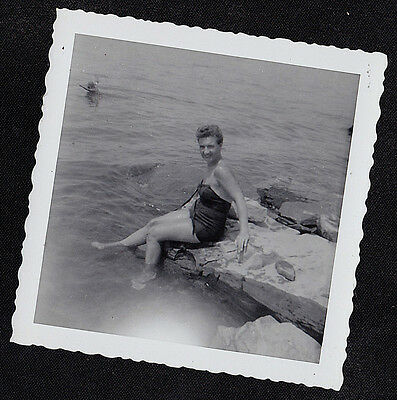 Vintage Antique Photograph Sexy Woman in Bathing Suits Sitting on Rock by Water