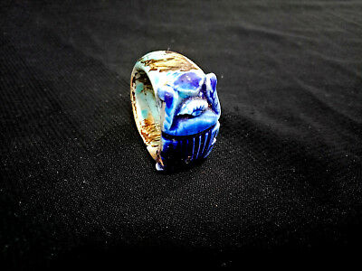 Scarab Royal Egyptian Ring Faience Egyptian Antiques Ring Topped With Beetle