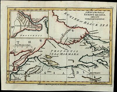 Turkey Constantinople Marmara c.1781 scarce 18th century hand color old map