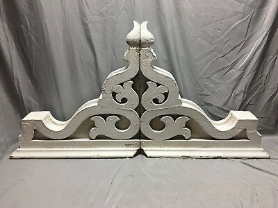 Pair Extra Large Antique White Roof Corbels Cornice Shabby Vtg Chic  Old  2-19M