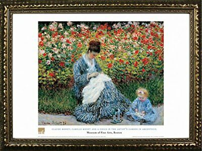 FRAMED Camille Monet And A Child by Claude Monet 28x20 Museum Art Print