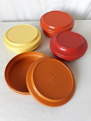 Vintage Tupperware Plate O Bowl Containers x 4 - Orange Yellow Terracotta