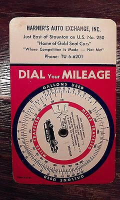 Vintage 1960's Harner's Auto Exchange, Dial-Your-Mileage Cardboard Spin Dial