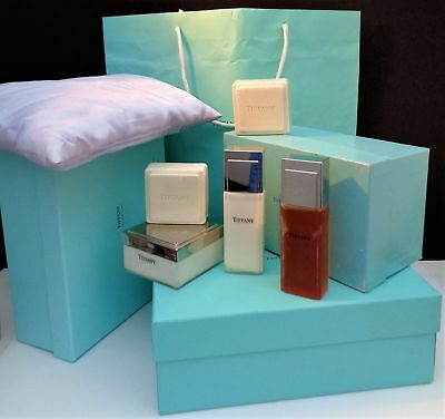 "Vintage And Htf Lot Of 9 Pieces ""tiffany"" Gel,powder,lotion,soap And Bag/box"