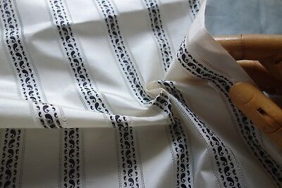 ANTIQUE Rare 19thc Ivory Colored/Black STRIPE SILK TAFFETA  Pce 20Wx26L