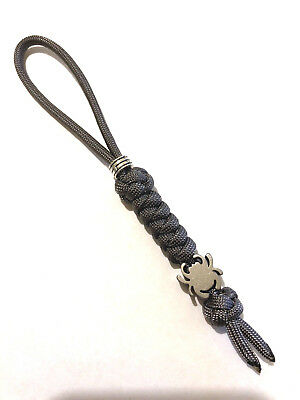 550 Paracord Knife Lanyard Graphite Cord With Titanium Alloy Spyderco Bead