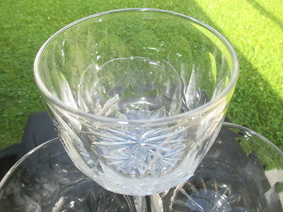 A- Clear Georgian Victorian Blown Glass Finger Bowl Star With Oval Cut Panels