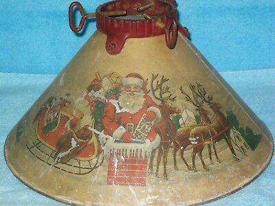 1920's NOMA Christmas Tree Stand Santa at Chimney with Pack of toys and Reindeer