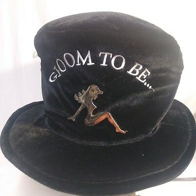 Bachelor Party GROOM TO BE  Black Velvet Top Silly Wacky Hat Adjustable playboy