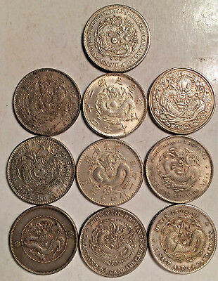 OLD SILVER CHINESE CHINA 25mm MAD DRAGON COINS LOT OF 10 DIFFERENT
