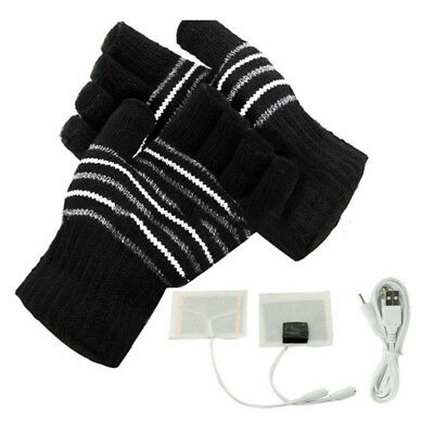 Electric USB Heated Gloves Winter Hands Warmer Knitting Thermal Glove Powered