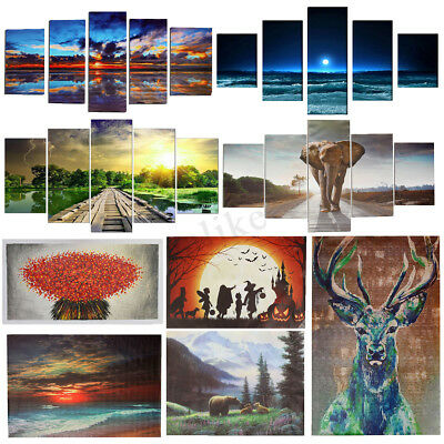 5Pcs Panels Framed Modern Art Canvas Oil Painting Picture Print Home Wall Decor