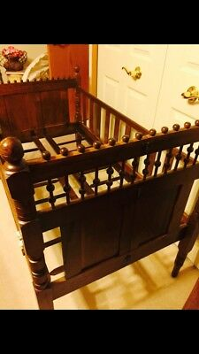 Antique Victorian 1860's Oak Crib Stick And Ball Baby Child Youth Carved Wood