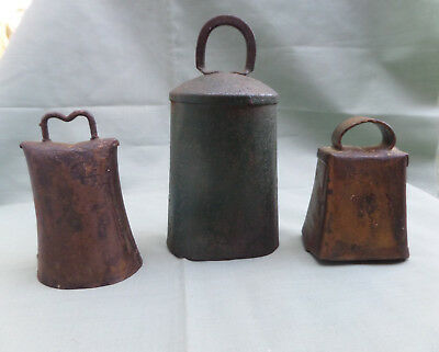 Lot of 3 Vintage Hand Made Rustic Cow Goat Bells