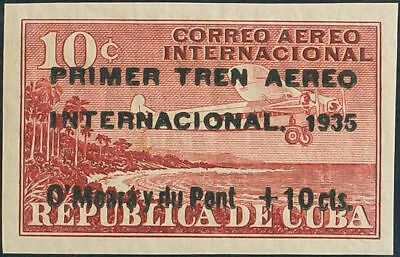 Cuba . Air Yv 16B. 1935 10 cts about 10 cts Red. without Pinking. MAGNIFICENT