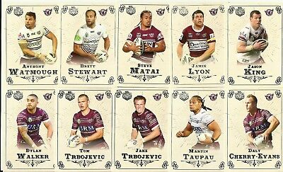 2018 Nrl GLORY MANLY SEA EAGLES COMMON TEAM SET 12 CARDS SPECIAL EDITION