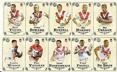 2018 Nrl GLORY ST GEORGE DRAGONS COMMON TEAM SET 13 CARDS Special Edition