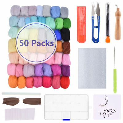 Needles Felting Starter Kit Wool Felt Tool Craft Mat +50 Color Wool Fibre Roving