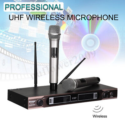 Wireless Microphone System UHF 2 Channel 2 Cordless Handheld Mic Karaoke Stage